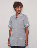 Classic Collar Healthcare Tunic - Navy stripe with white trim