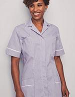 Classic Collar Healthcare Tunic, Lilac Stripe with White Trim
