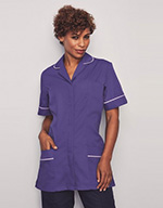 Ladies Classic Collar Healthcare Tunic, Purple with White Trim