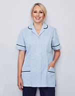 Classic Collar Healthcare Tunic - Hospital blue stripe with navy trim