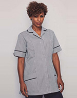 Classic Collar Healthcare Tunic - Navy stripe with navy trim