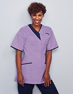 Ladies Zip Front Tunic, Lilac with Navy Trim
