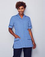 Classic Collar Healthcare Tunic, Metro with Navy Trim
