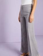 Pantalon droit en mélange de lin, gris
