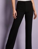 Pantalon droit en mélange de lin, noir