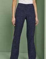 Pantalon droit en mélange de lin, bleu marine