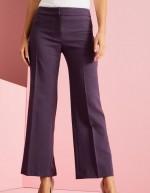 Pantalon droit en mélange de lin, prune