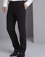 Qualitas Men's Modern Flat Front Pants, Charcoal, Unhemmed