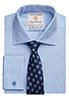 Andora Classic Fit Shirt Cotton Herringbone Blue Herringbone